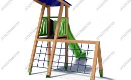 Csúszdás őrtorony kis mászóhálóval
