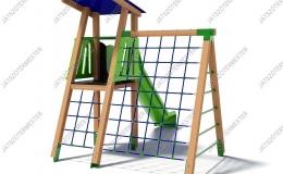 Csúszdás őrtorony nagy mászóhálóval