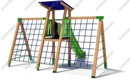 Csúszdás őrtorony dupla mászóhálóval